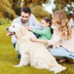 Happy family with Labrador Retriever dog in a park.